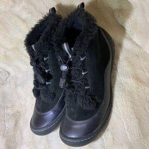 PRIVO Black Leather Faux Fur Boots